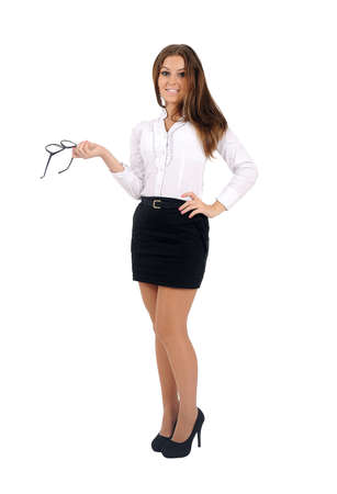 Isolated young business woman standing Stock Photo - 16010151