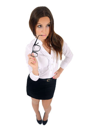 Isolated young business woman thinking Stock Photo - 16010018