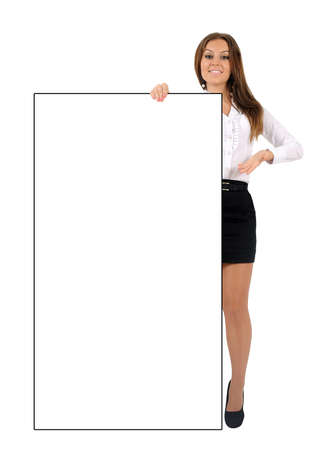 Isolated young business woman holding photo