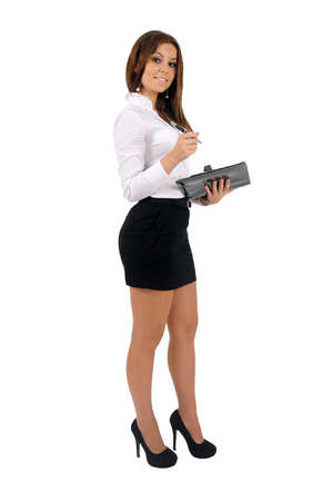 Isolated young business woman looking Stock Photo