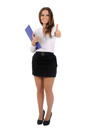 Isolated young business woman approval