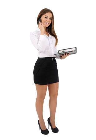 Isolated young business woman