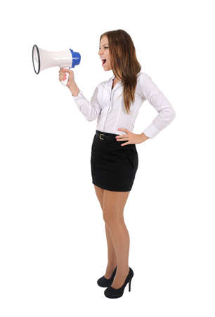 Isolated young business woman with megaphone Stock Photo - 16010063