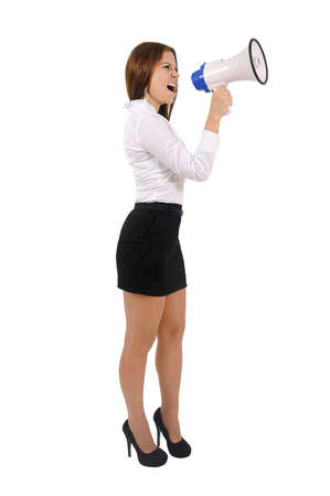 Isolated young business woman with megaphone Stock Photo - 16010174
