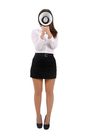 Isolated young business woman with megaphone Stock Photo - 16010180