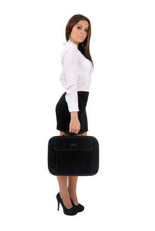 Isolated young business woman with briefcase Stock Photo - 16010145