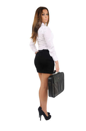 Isolated young business woman standing Stock Photo - 16010085