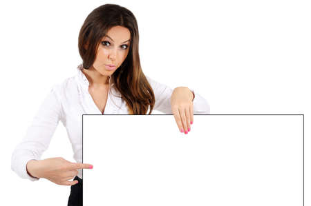 Business young woman isolated presenting paper Stock Photo - 16010019
