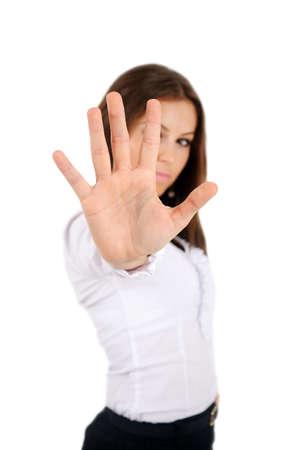 Mujer aislada negocio joven rechazar Foto de archivo - 16010080