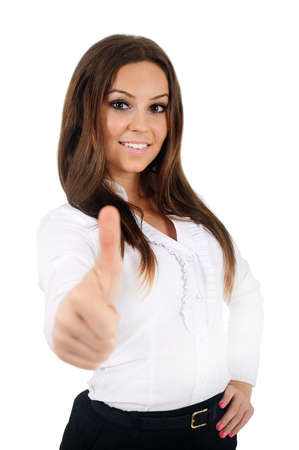Isolated young business woman agree Stock Photo - 16009862