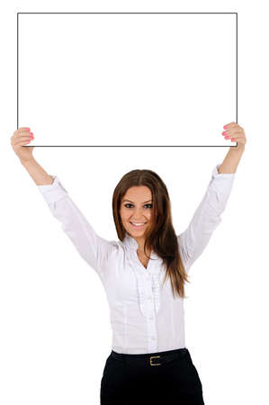 advertising woman: Isolated young business woman holding Stock Photo