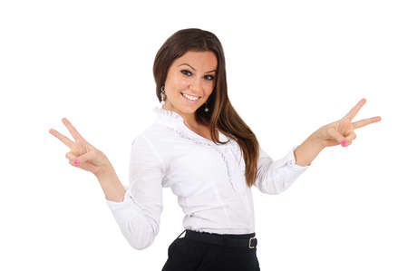 Isolated young business woman happy Stock Photo - 16010003