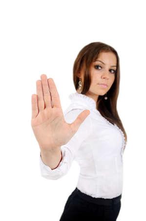 제스처: 격리 된 젊은 비즈니스 여자 거부