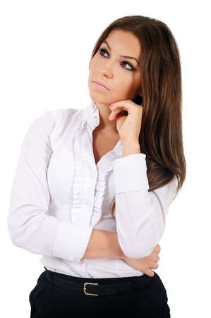 Isolated young business woman thinking photo
