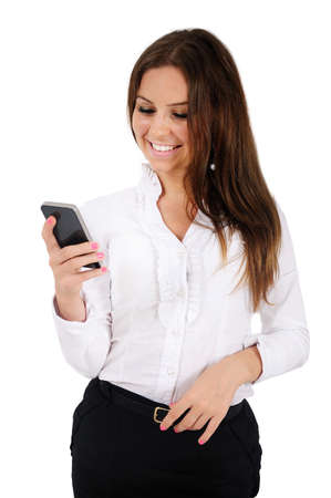 Isolated young business woman holding phone