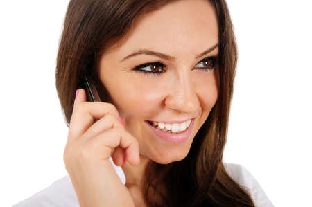 Isolated young business woman speaking phone Stock Photo - 16009791