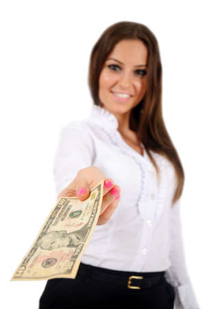 give money: Isolated young business woman give money