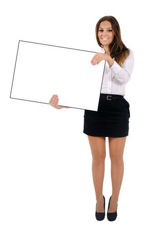 holding blank sign: Isolated young business woman holding Stock Photo