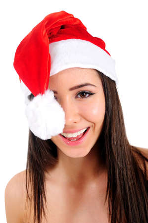 Isolated Young Christmas Girl Happy photo