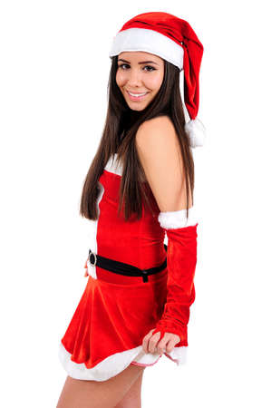 Isolated Young Christmas Girl Standing Stock Photo - 16480932