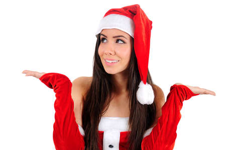 Isolated Young Christmas Girl Holding Palm Stock Photo - 16480927