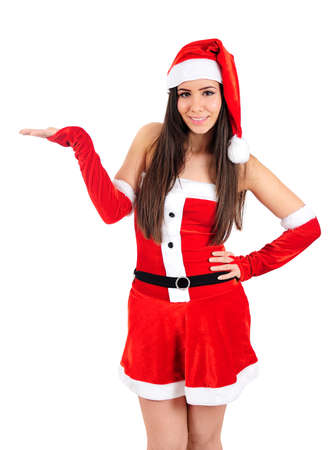 Isolated Young Christmas Girl Holding Palm Stock Photo - 16480868
