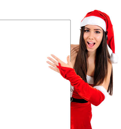Isolated Young Christmas Girl Behind Wall photo
