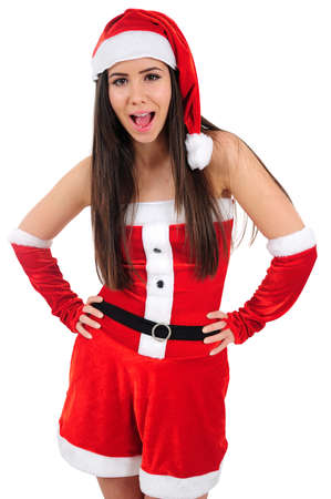Isolated Young Christmas Girl Screaming Stock Photo - 16480955