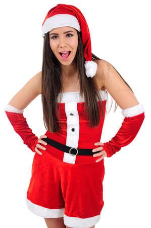Isolated Young Christmas Girl Screaming Stock Photo - 16480955