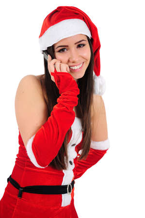 Isolated Young Christmas Girl Speaking Phone Stock Photo - 16479596