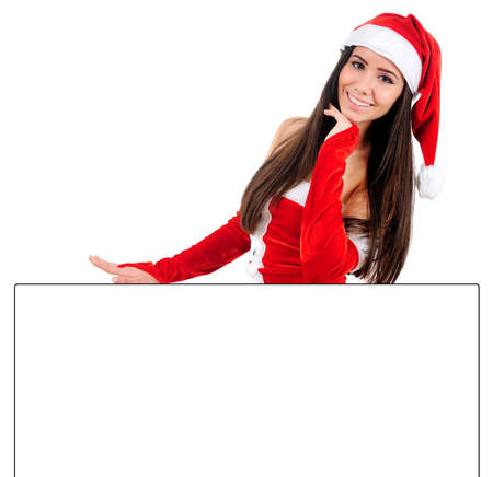 Isolated Young Christmas Girl Leaning Something Stock Photo - 16480874