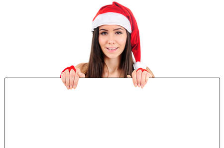 Isolated Young Christmas Girl Holding Banner Stock Photo - 16480862