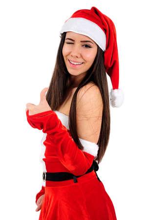 Isolated Young Christmas Girl Agree Stock Photo - 16480916
