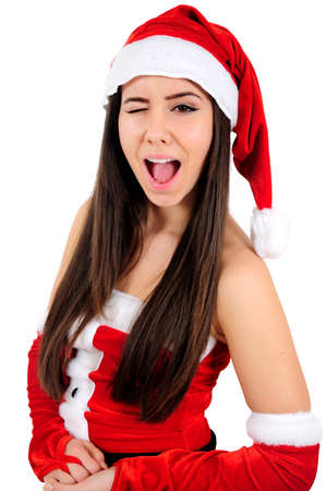 Isolated Young Christmas Girl Blink Eye photo