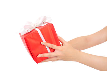 Isolated Hand Holding Gift Box photo