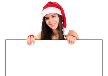 Isolated Young Christmas Girl Holding Banner photo