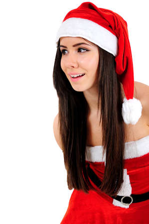 Isolated Young Christmas Girl Looking at Something photo