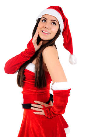 Isolated Young Christmas Girl Dreaming photo