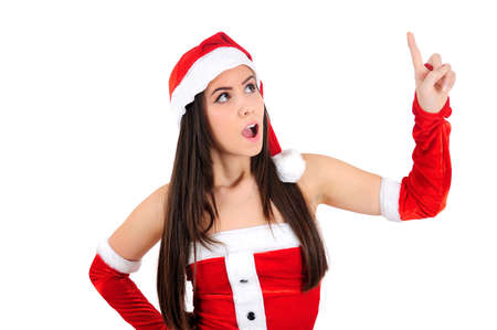 Isolated Young Christmas Girl Pointing Up Stock Photo - 16495134