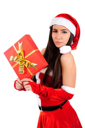 Aislados joven Christmas Girl Holding Regalo photo
