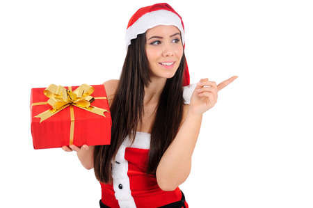 Isolated Young Christmas Girl Pointing Stock Photo - 16518649