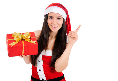 Isolated Young Christmas Girl Pointing Up Stock Photo - 16518635