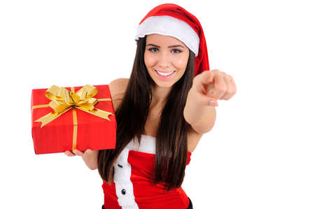 Isolated Young Christmas Girl Pointing You Stock Photo - 16518651