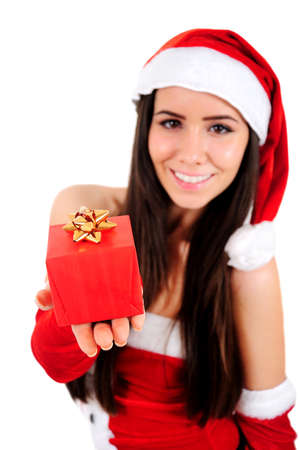 Isolated Young Christmas Girl Showing Gift photo