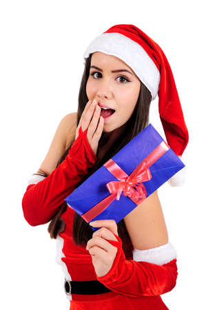 Isolated Young Christmas Girl Amazed Stock Photo - 16518661