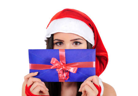 Isolated Young Christmas Girl Holding Envelope Stock Photo - 16518652