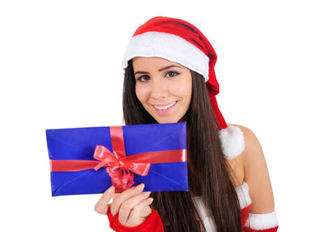 Isolated Young Girl Holding Envelope Navidad photo