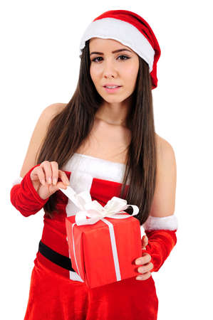 Isolated Young Christmas Girl Open Gift photo