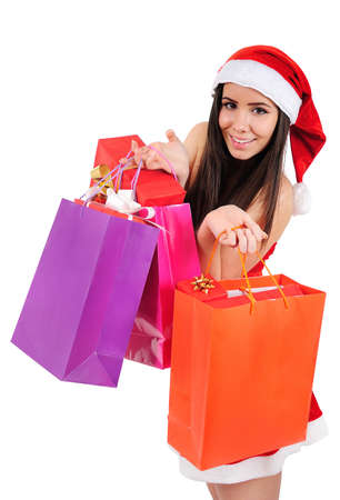 Isolated Young Christmas Girl Enjoy Shopping photo
