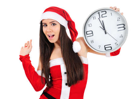 Isolated Young Christmas Girl With Clock photo